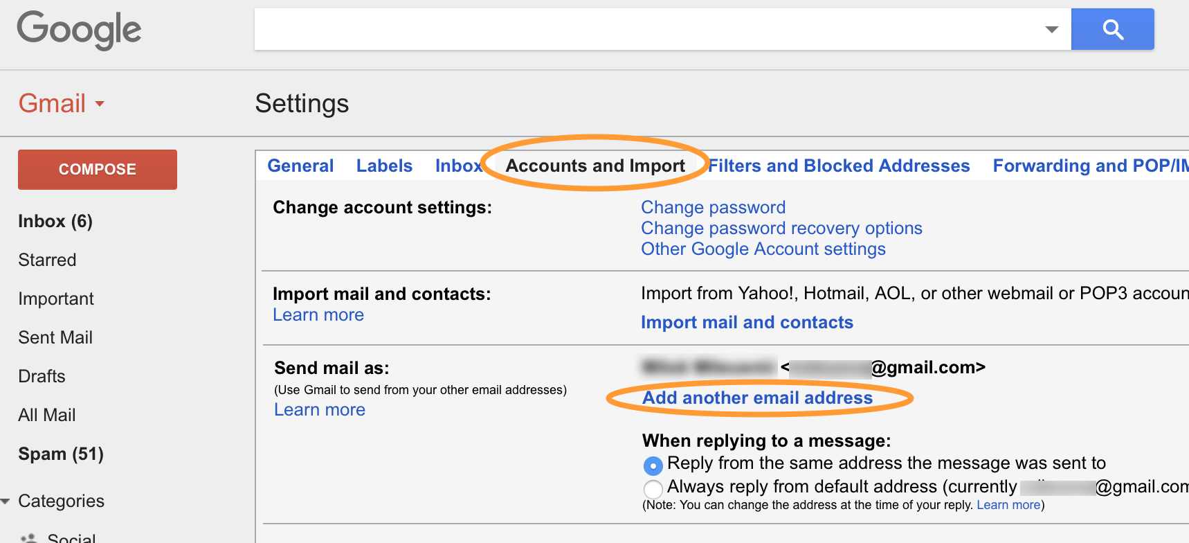 Account and Imports settings in Gmail