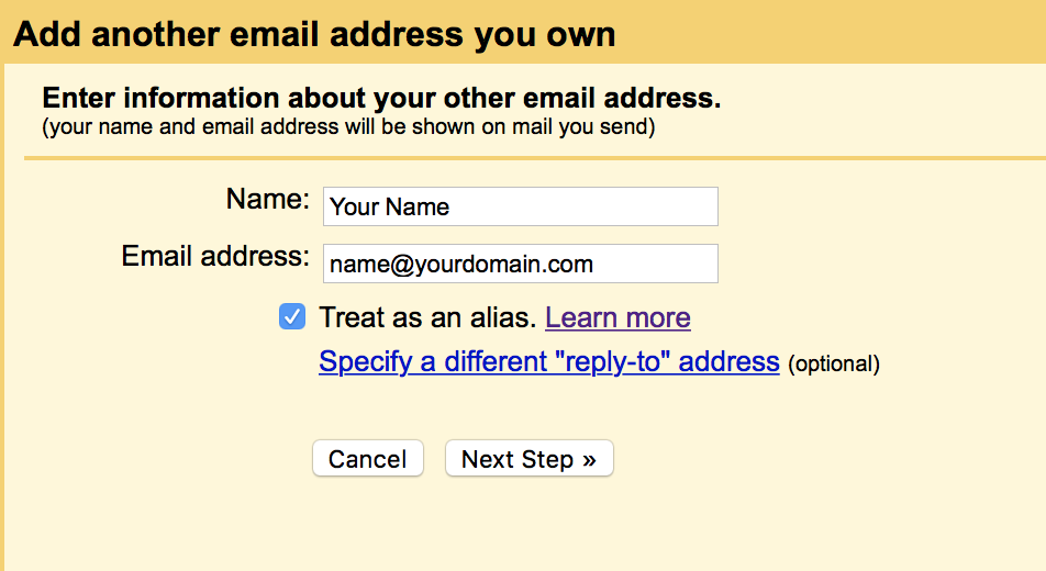 Add another email as your own in Gmail